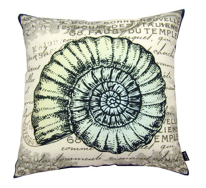 "Vintage Seaside Swirled Shell Pillow - An enchanting 18"" x 18"" coastal pillow to add to any room in your home or as a pop of interest in your outdoor room too!"