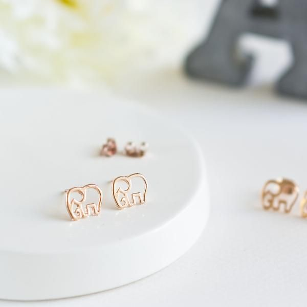Delicate And Adorable Baby Elephant Earring Studs In Beautiful Rose Gold These Feature The Outlines Of An Dainty