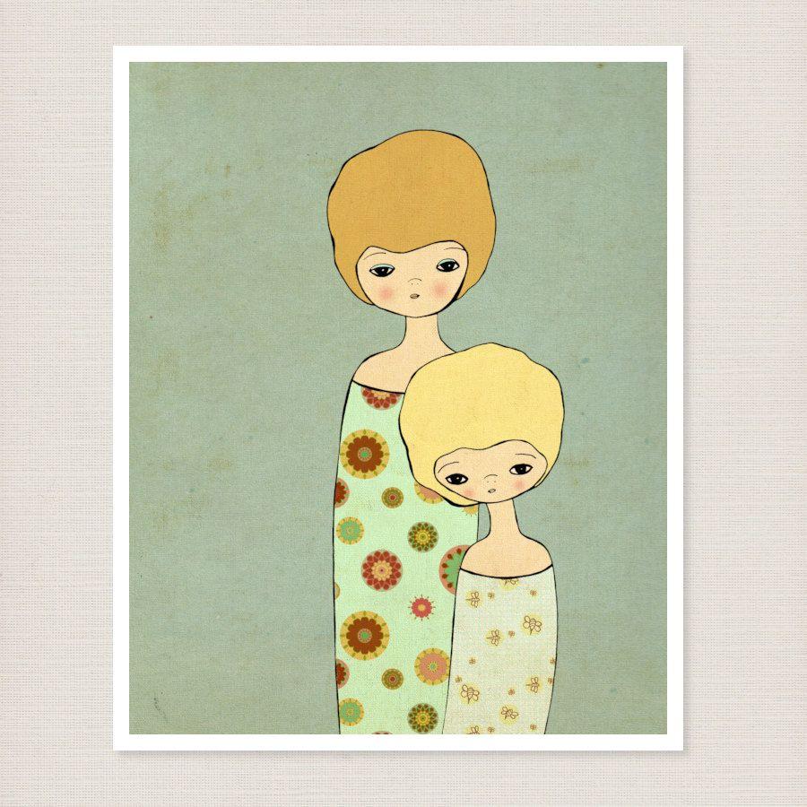 Comfort // Mother and Child, Nursery Art, Kids Art, Illustration ...