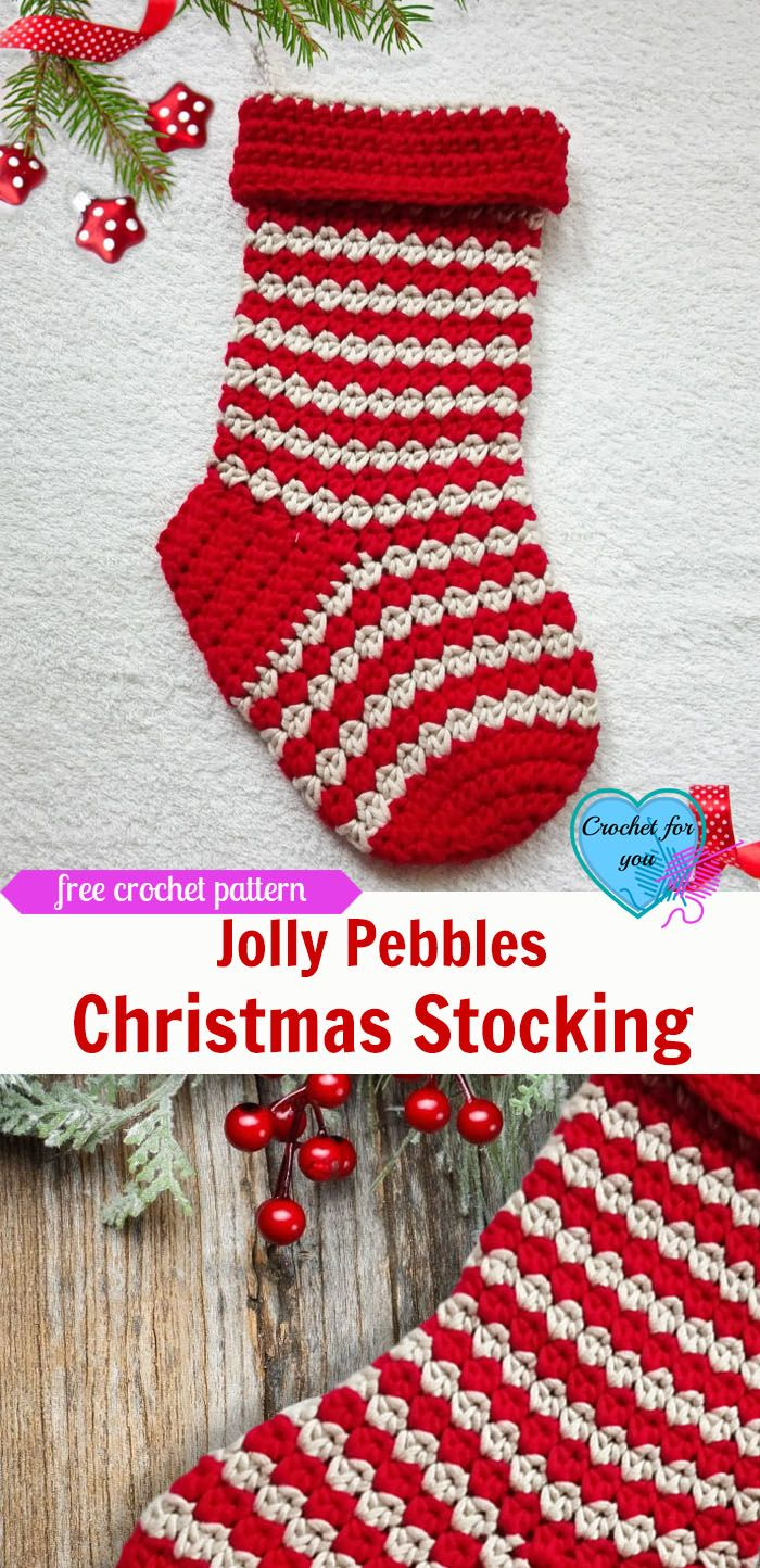 Jolly Pebbles Christmas Crochet Stocking | Free pattern, Stockings ...