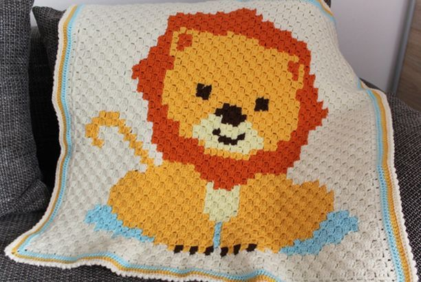 Baby Lion C2C Blanket - Free Pattern (Beautiful Skills