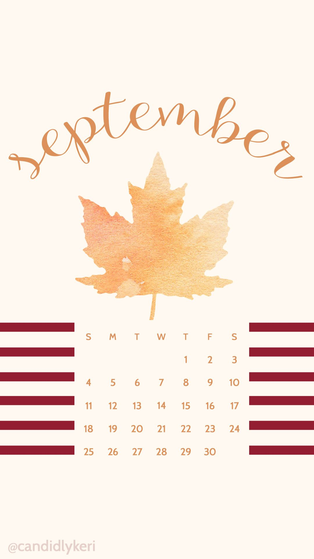 Free Calendar Wallpaper September : Fall leaf watercolor september calendar wallpaper you