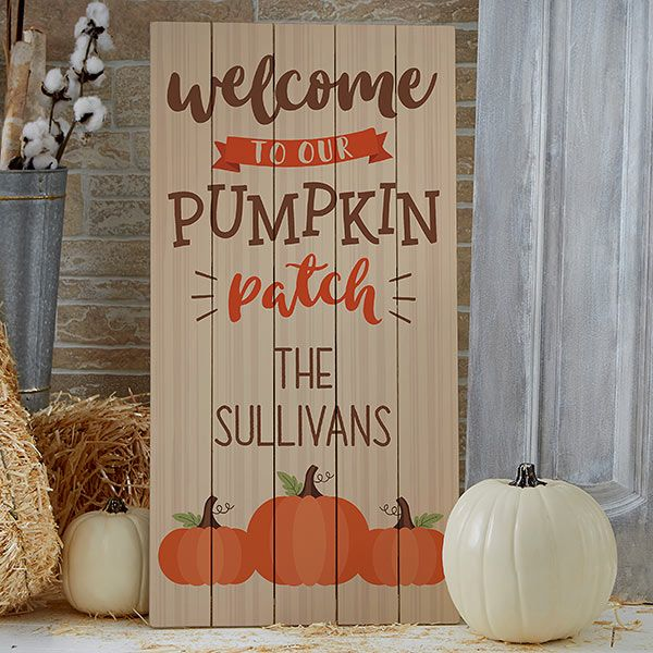 Pumpkin Patch Personalized Standing Wood Sign