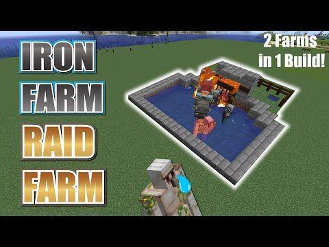Easy Iron Farm Raid Farm Combo Farm Youtube Minecraft Farm Minecraft Building Blueprints Minecraft Projects