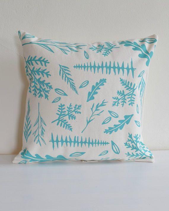 Woodland Ferns Throw Pillow Organic Cotton Decorative Pillow