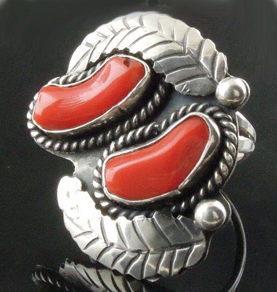 Vintage Bold Sterling Ring Navajo Coral by WanderingCreekJewels