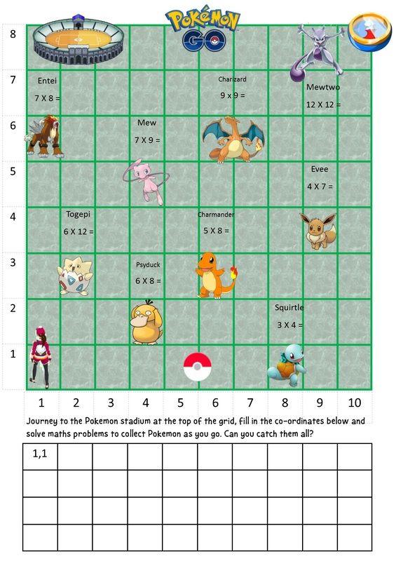 pokemon go co ordinates editable mathie ks2 maths math teaching math. Black Bedroom Furniture Sets. Home Design Ideas