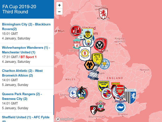 Fa Cup 3rd Round Interactive Map Fa Cup Cup Interactive Map