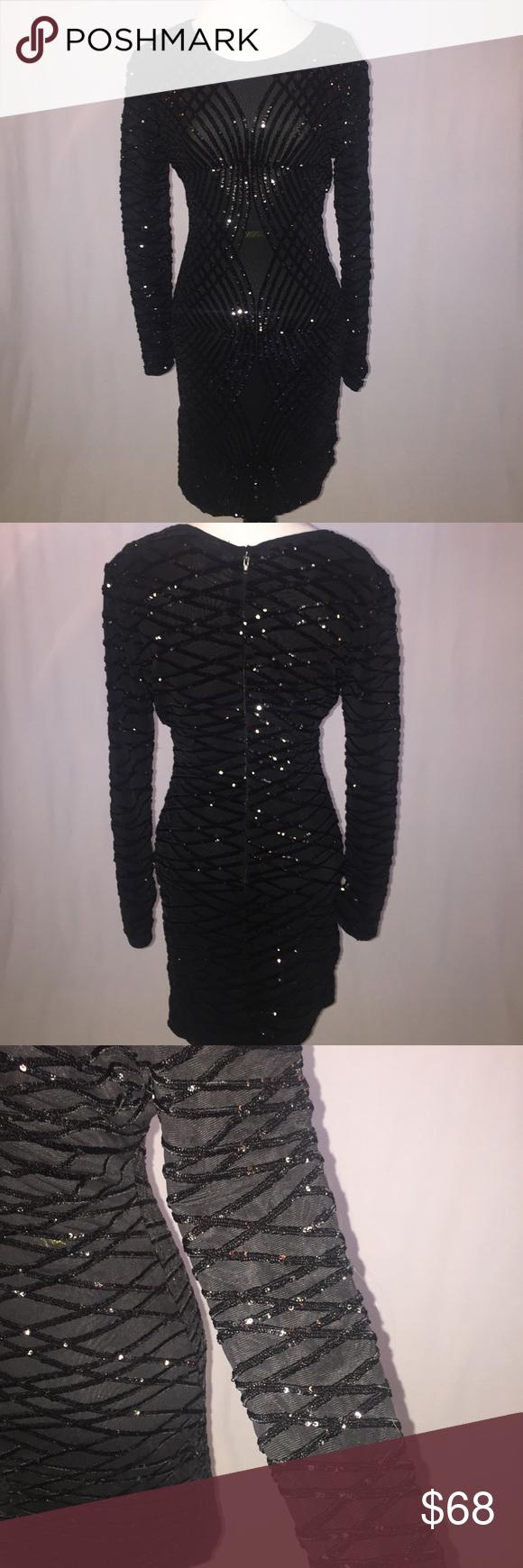 Windsor long sleeve sequin dress pinterest black sequin dress