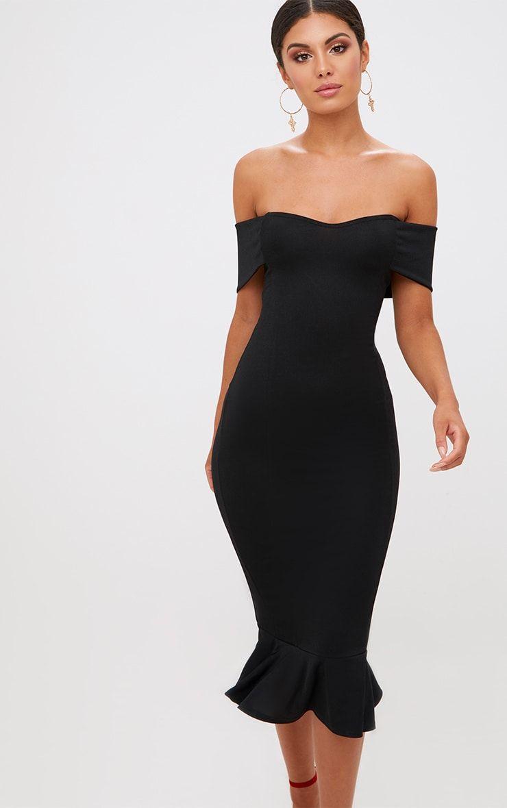 Black Bardot Frill Hem Midi Dress Classy Dress Cocktail Attire Cocktail Bridesmaid Dresses [ 1180 x 740 Pixel ]