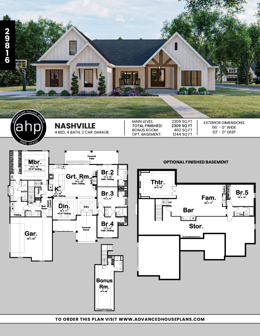 1 Story Modern Farmhouse Plan Nashville In 2020 Modern Farmhouse Plans Craftsman House Plans Farmhouse Style House Plans