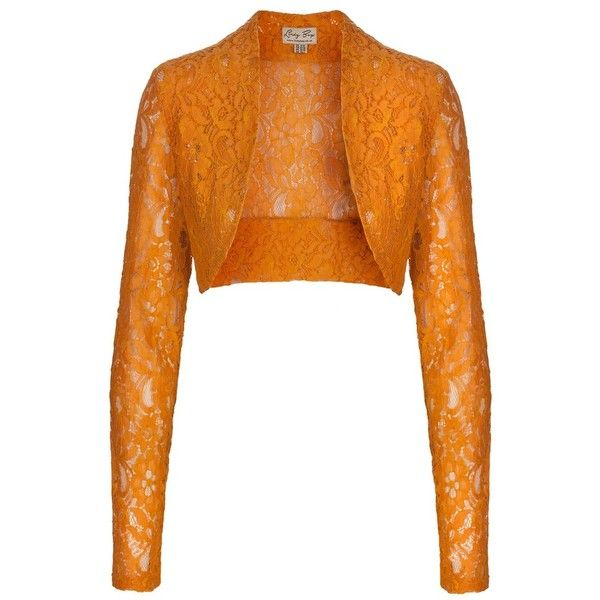 Orange Lace Shrug (49 HRK) ❤ liked on Polyvore featuring ...