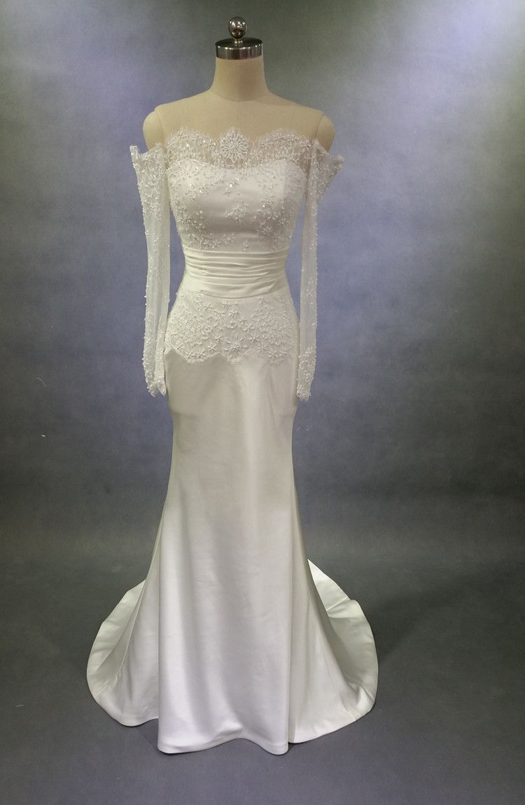 Off shoulder long sleeve lace mermaid wedding dresses custom made