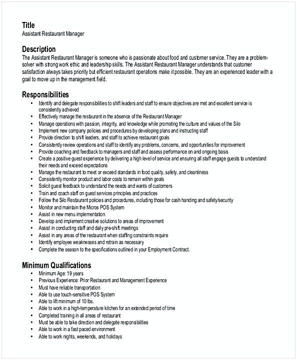 Assistant Restaurant Manager Resume 1 , Hotel and Restaurant - restaurant sample resume