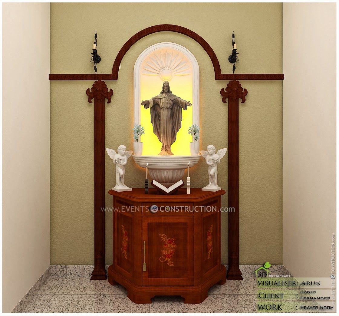 Evens Construction Pvt Ltd Prayer Area Design Roopakoode Home Altar Catholic Prayer Room Altar Design Designed with catholic moms and kids in mind, the durability of the catholic static cling will last on any indoor surface (mirrors, windows)! home altar catholic prayer room
