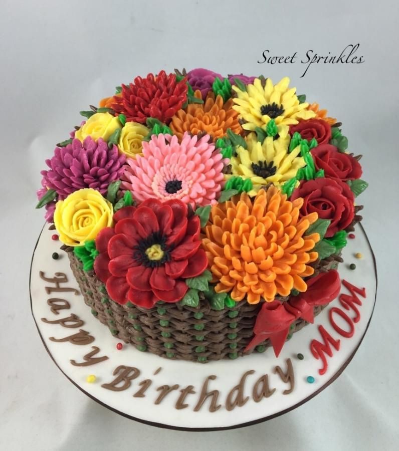 The Basket Of Flowers Flower Basket Cake Basket Weave Cake Cake Basket