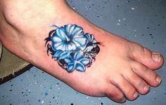 Tribal Blue Hawaiian Hibiscus Flower Tattoo On Foot Hibiscus Tattoo Hibiscus Flower Tattoos Hawaiian Tattoo