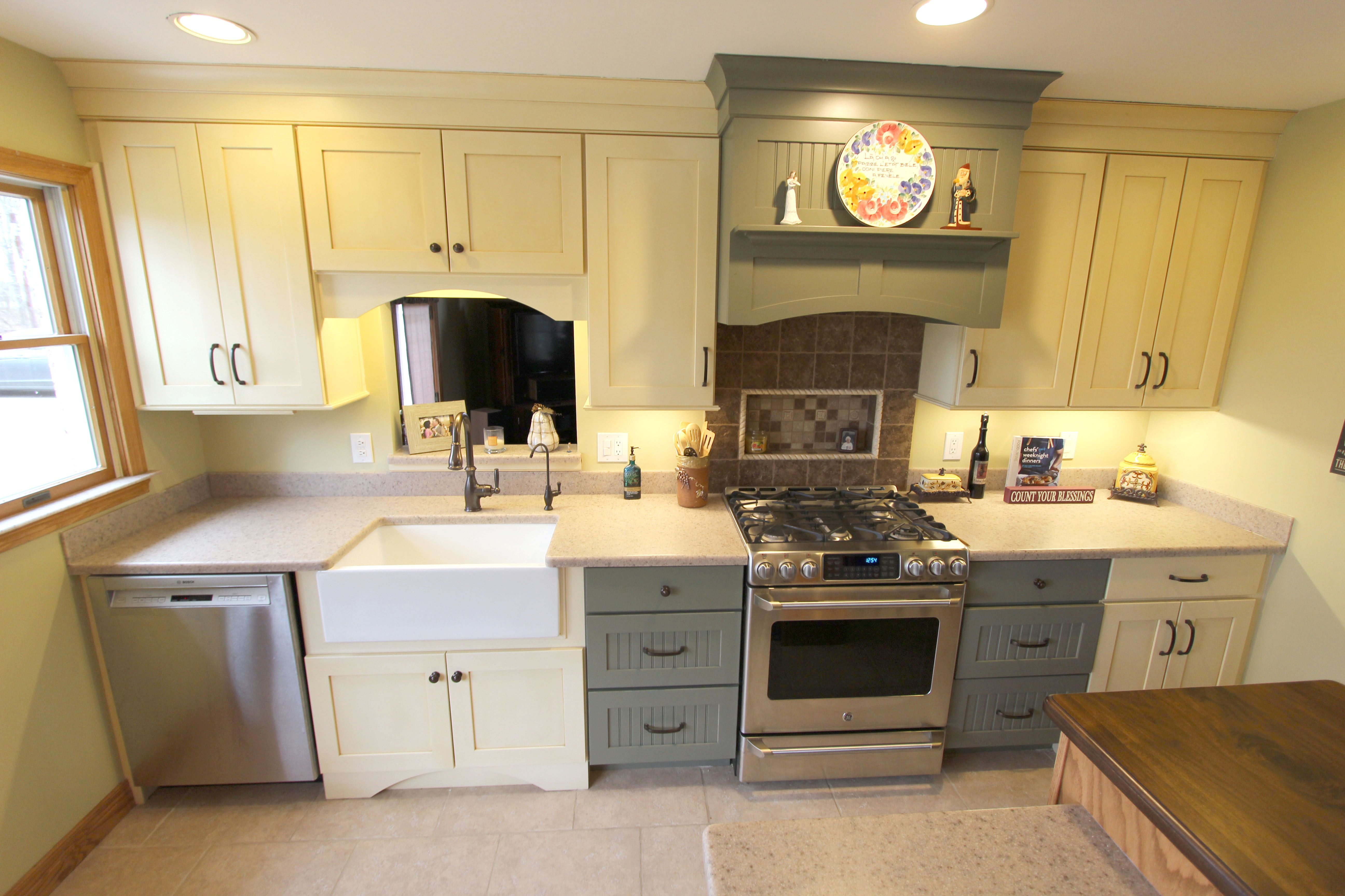Medallion Gold Full Overlay Maple Oyster Vintage cabinets with Mocha ...