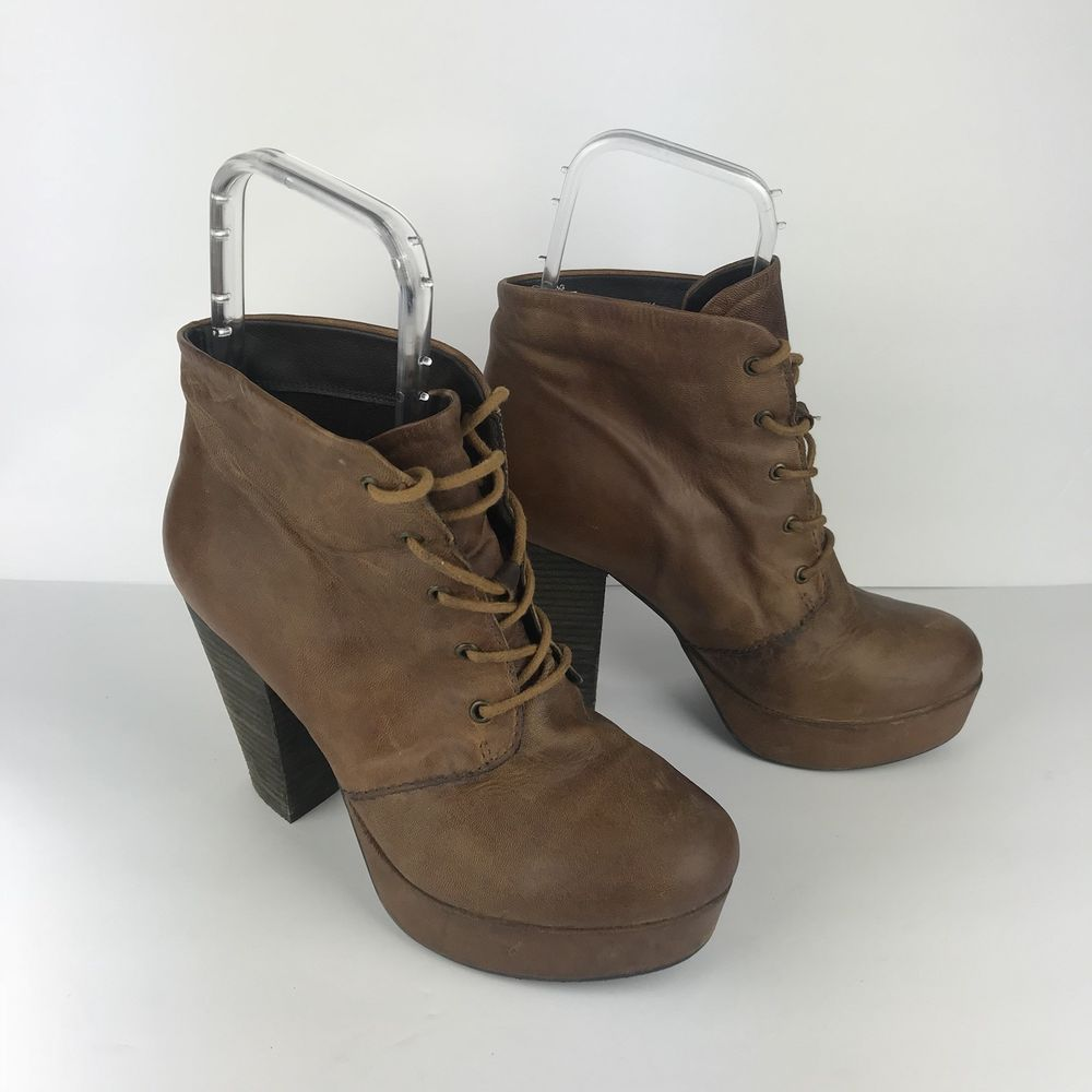3328e54b8ff Steve Madden 8 Boot Raspy Ankle Bootie Tan Brown Leather Lace Up Platform  Block  fashion  clothing  shoes  accessories  womensshoes  boots  ad (ebay  link)