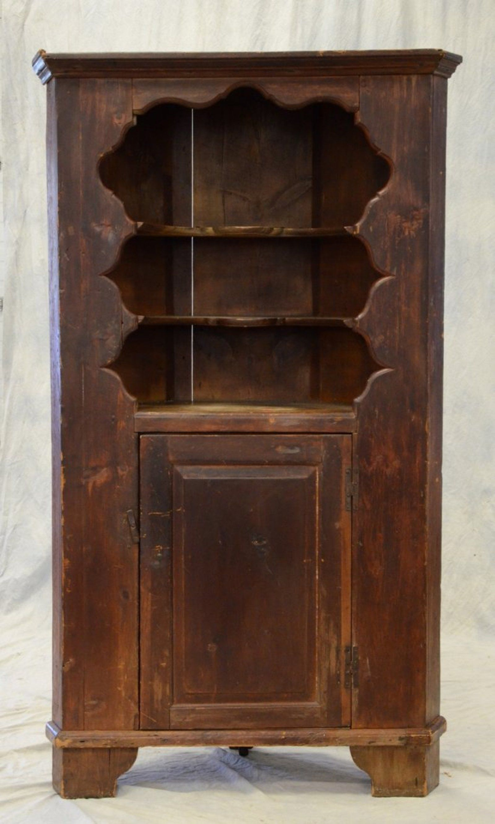 corner furniture piece. One-piece Pine Open Top Corner Cupboard, Scalloped Furniture Piece E