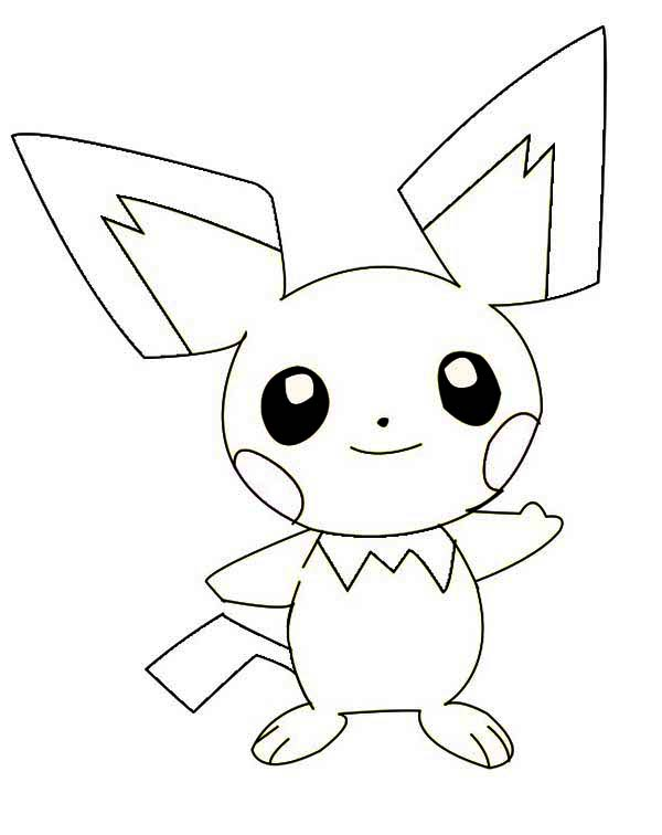 Smiling Pichu Coloring Page Color Luna Pokemon Coloring Pages Coloring Pages Star Coloring Pages