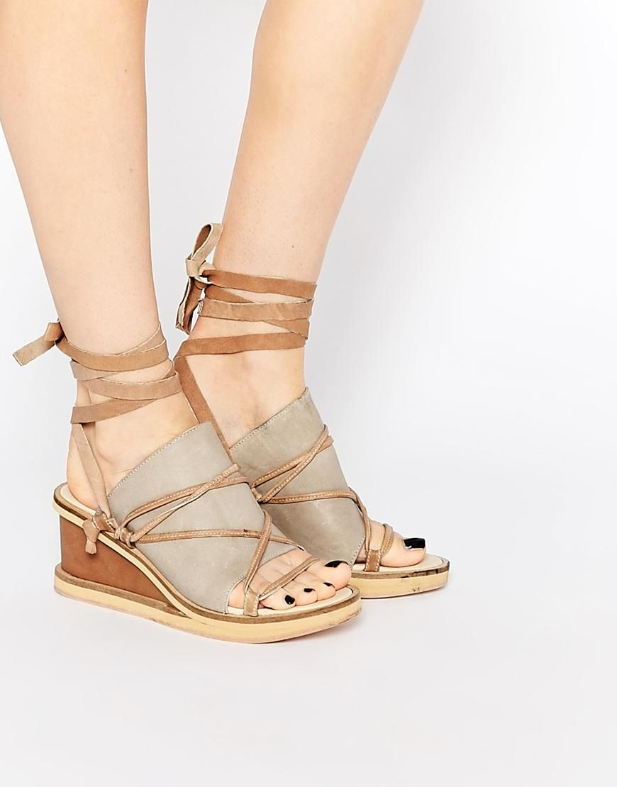 57bc32cf7c Free People | Free People Bowery Dove Gray Wedge Sandals at ASOS ...