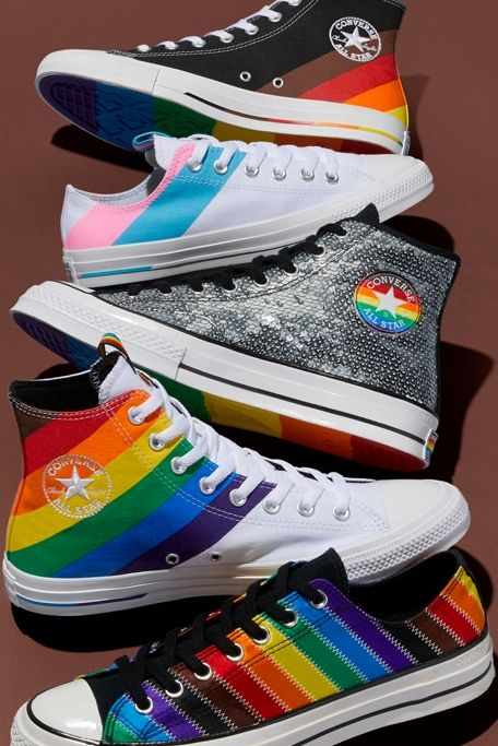 Rainbow sneakers from Converse's 2020 Pride collection. #lgbtqpride #pridemonth #converse #conversesneakers #rainbow