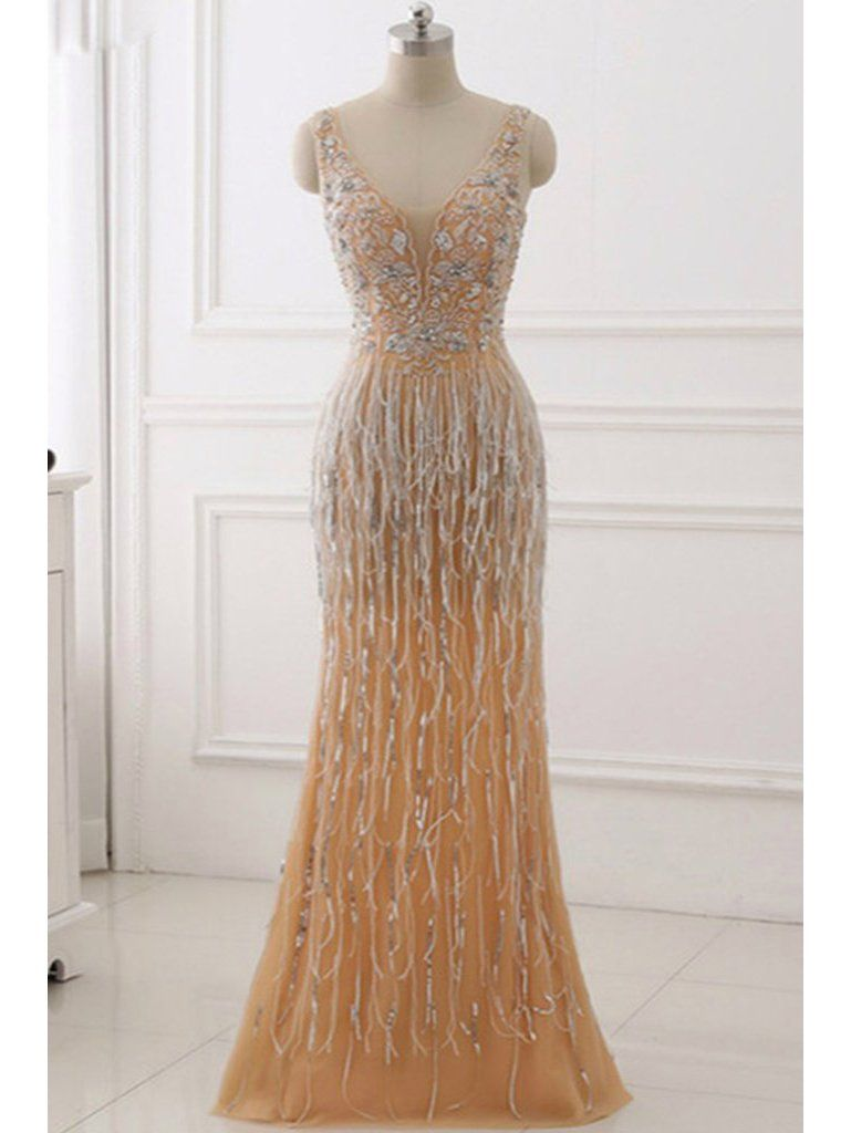 Gold mermaid beaded prom dresses long appliqed us gatsby themed
