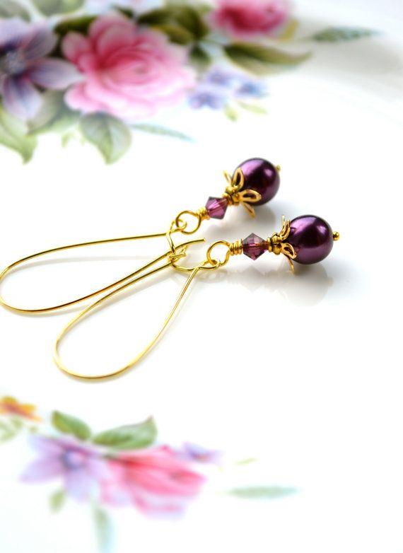 Purple Pearl Earrings Glass Pearl Earrings Long by Phoebedreams