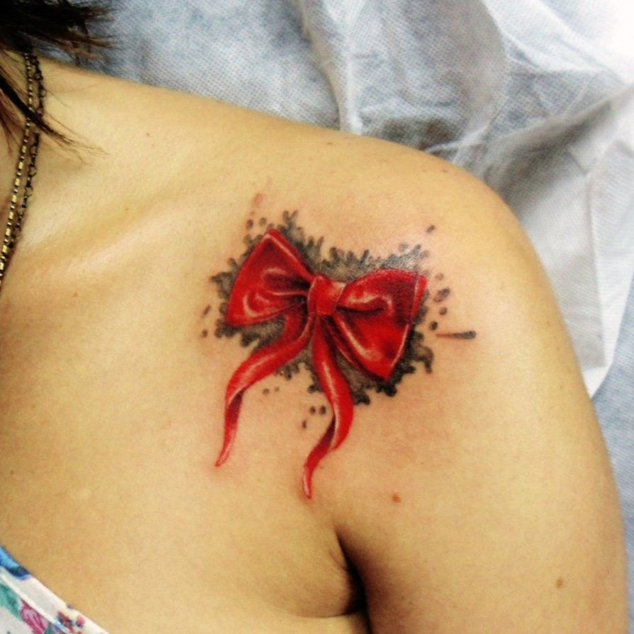 Leeslittlewonderland meaningful tattoos good ideas - Bowknot Watercolor Tattoos On Shoulder For Girls
