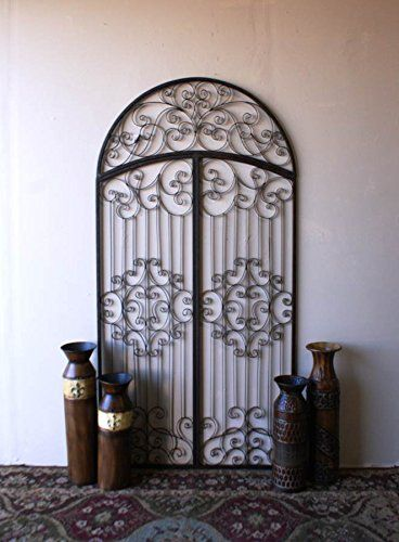 Tuscan Wrought Iron Arched Garden Gate Wall Art Cheap-Chic Decor ...