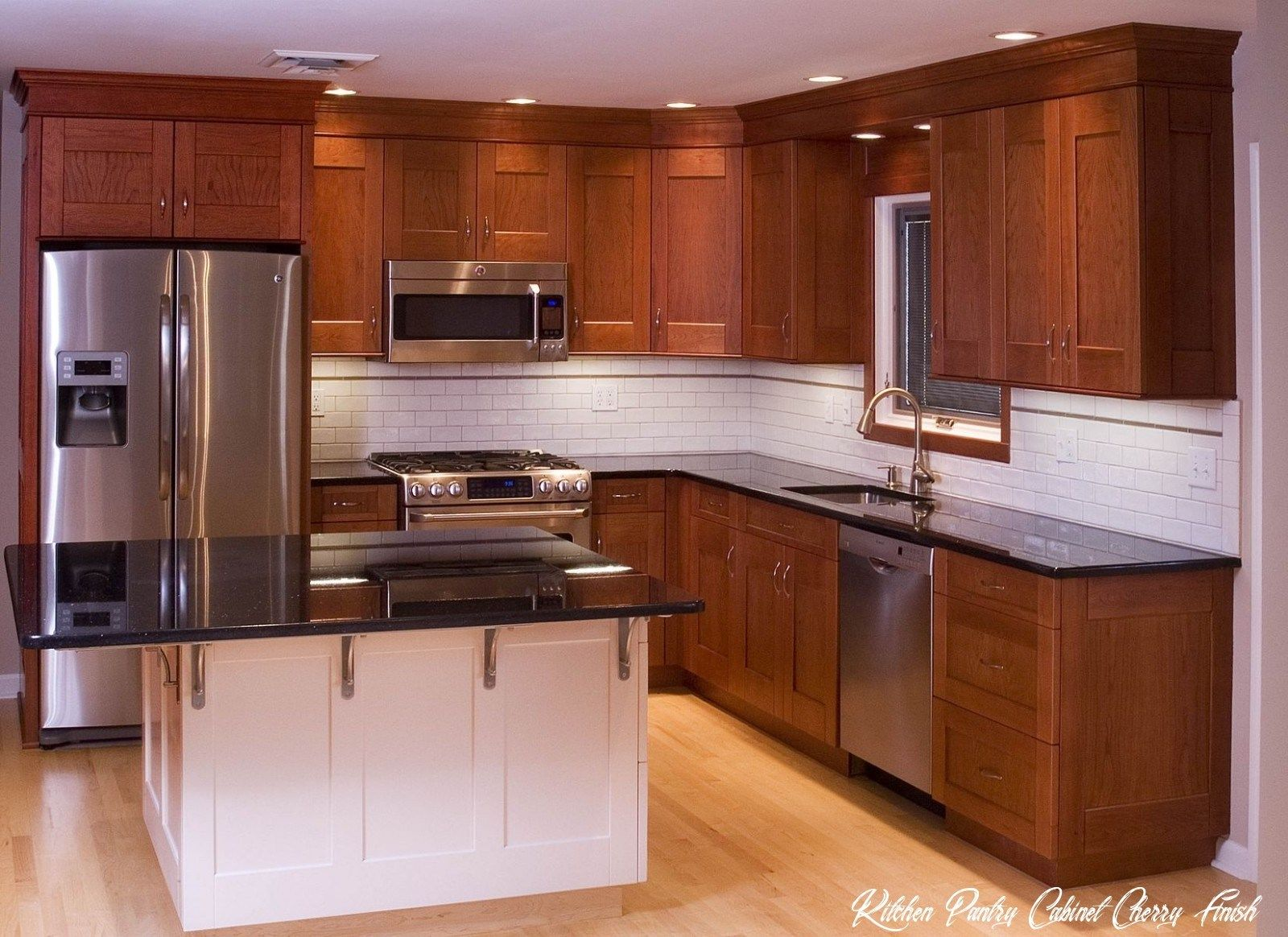 12 Kitchen Pantry Cabinet Cherry Finish In 2020 Kitchen Layout Small Kitchen Countertops Cherry Cabinets Kitchen