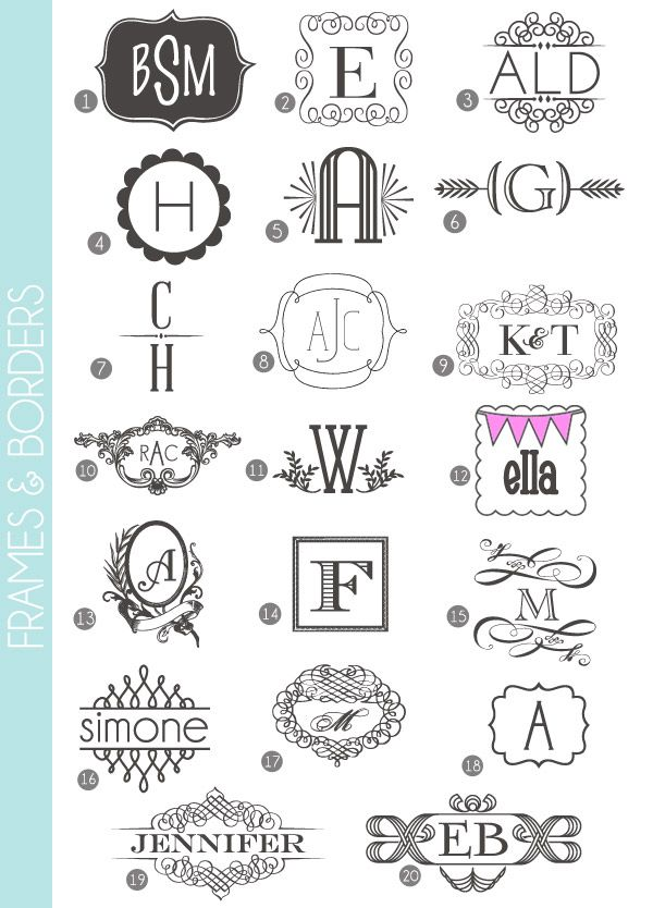 Monograms Made Easy: 72 Fonts & Frames | Fonts, Monograms and Damasks