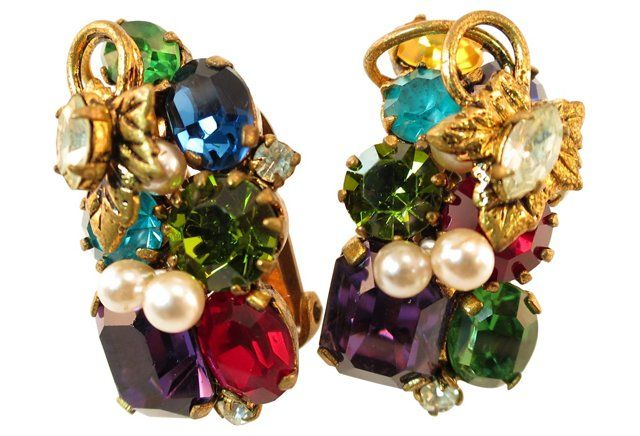 Austrian Jewel-Tone Crystal Earrings