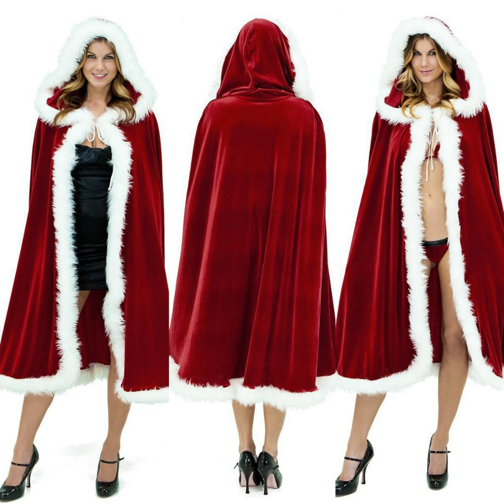 Merry Christmas Mrs Santa Claus Cloak Xmas Costume Cappa Cloak Cape