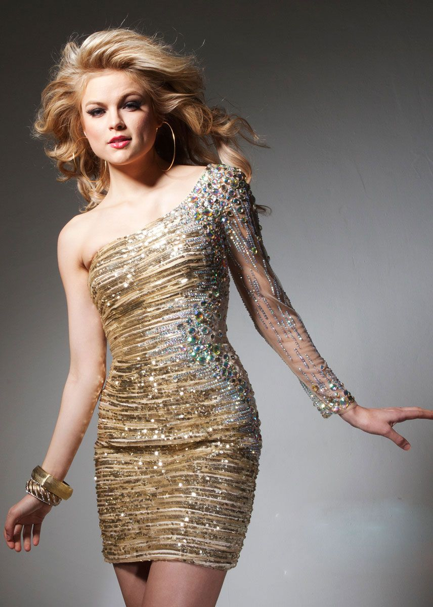 Gold Homecoming Dresses Short One Sleeve