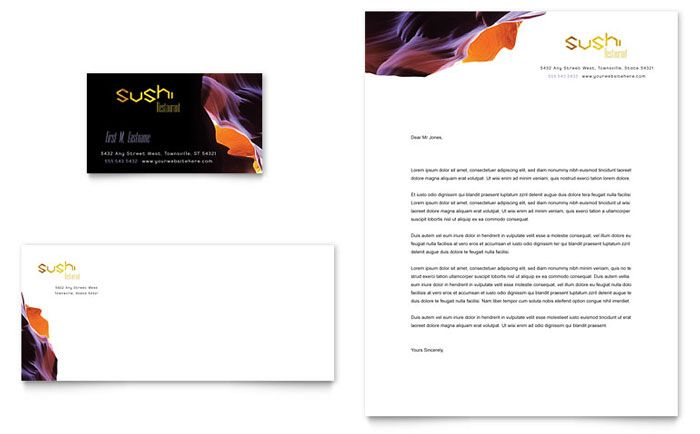 Sushi Restaurant Business Card And Letterhead Template Design By Stocklayouts Sample Company
