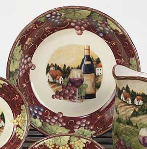 Dishes With Wine Bottles And Grapes Merlot Sunset Dinnerware