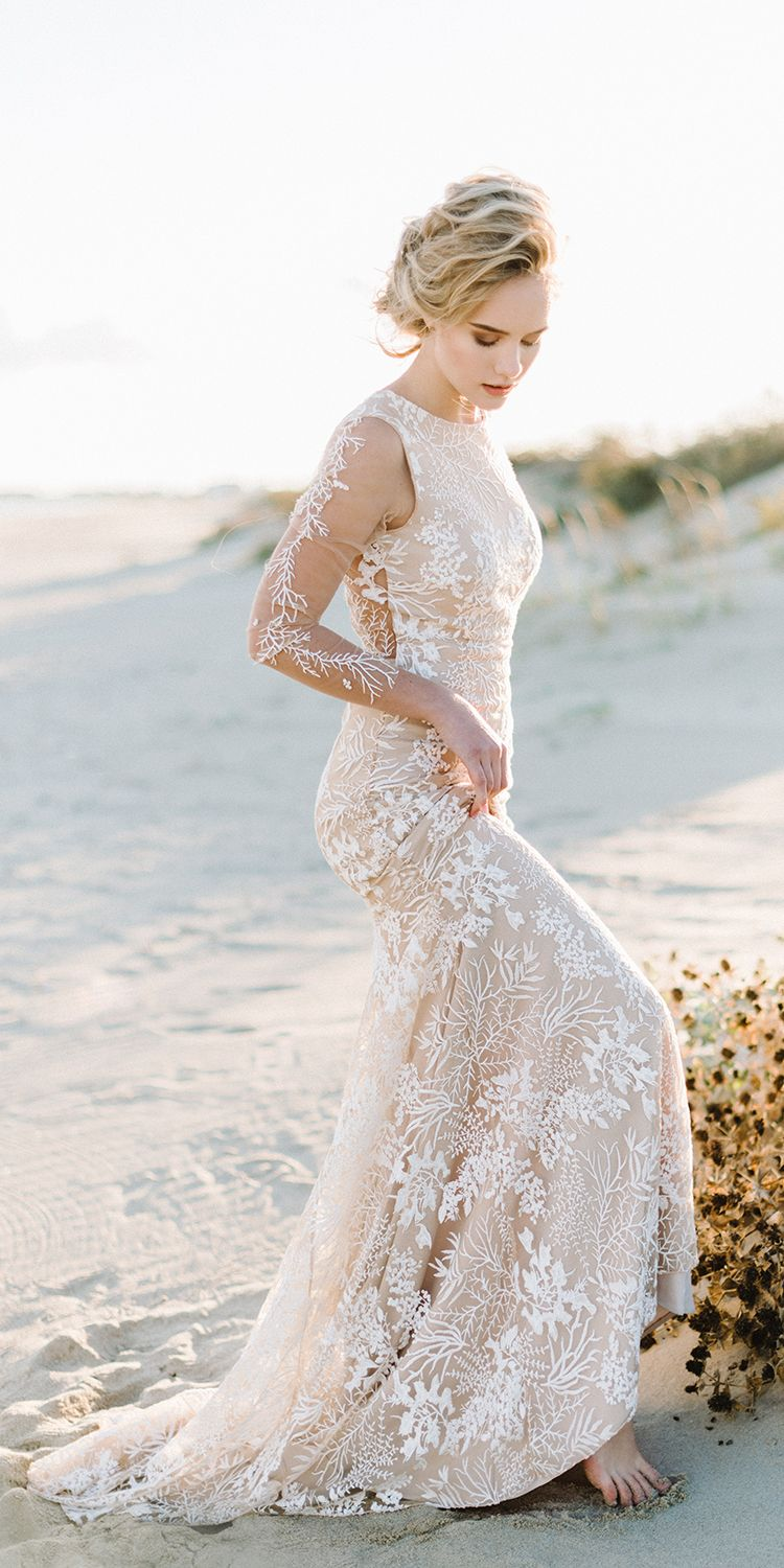 Simple A Line V Neck Bohemian Lace Bridal Gown Beach Wedding