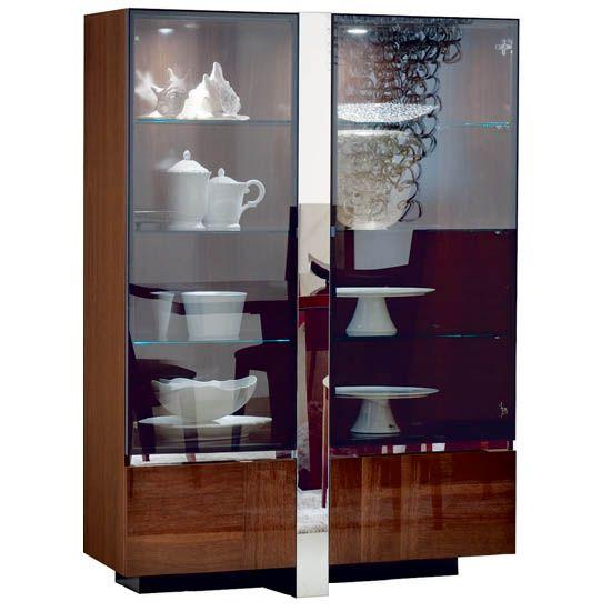 Italia Curio Cabinet In High Gloss Walnut Canaletto