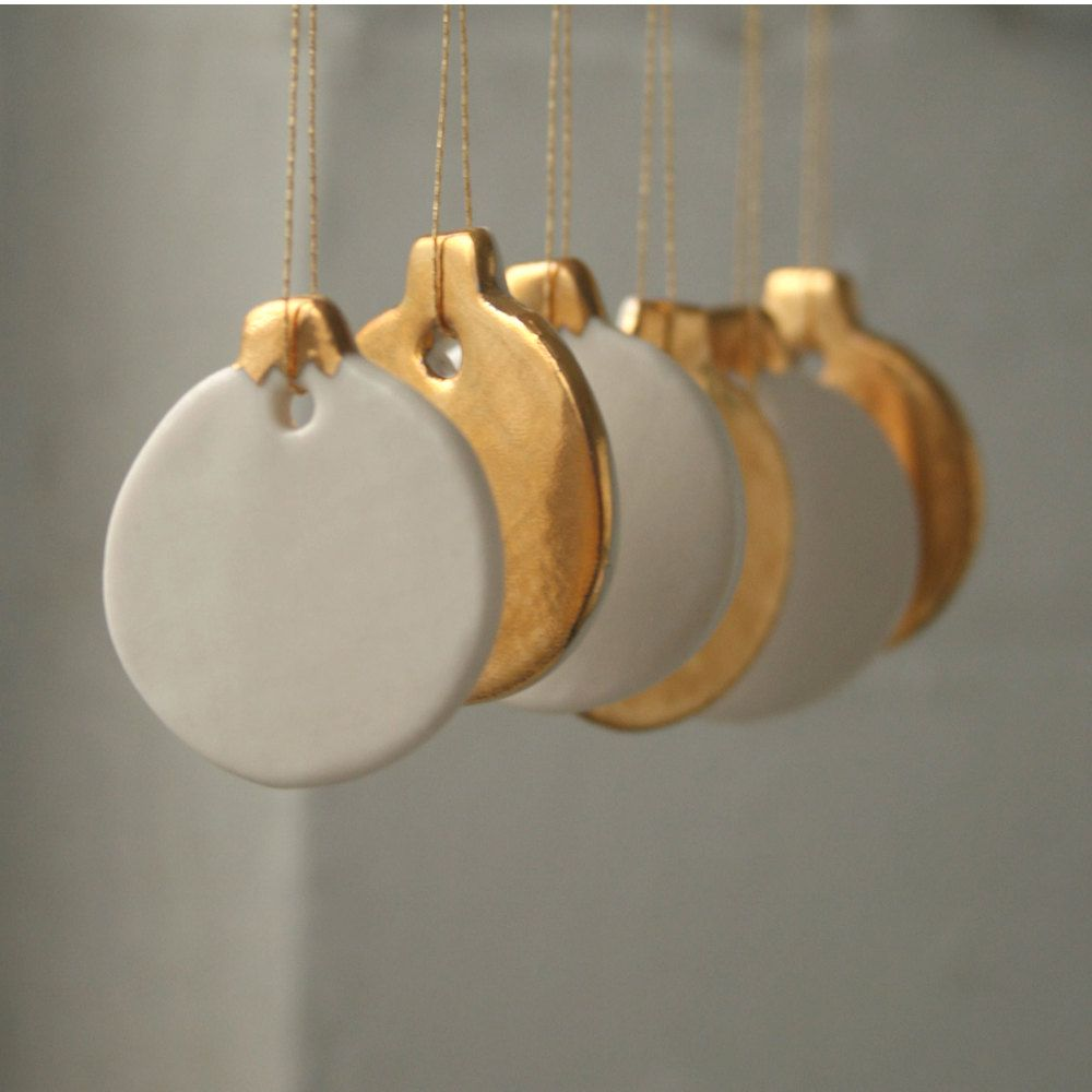 Mini Bauble Decoration Set, 6 real gold lustre porcelain ornaments. £35.00, via Etsy.