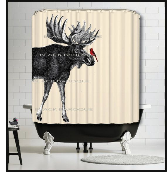 Moose Cardinal Shower Curtain Animal By TheBlackDuckie