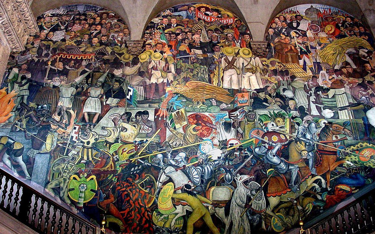 Mural panorama de m xico palacio de gobierno ciudad de for Arte mural en mexico