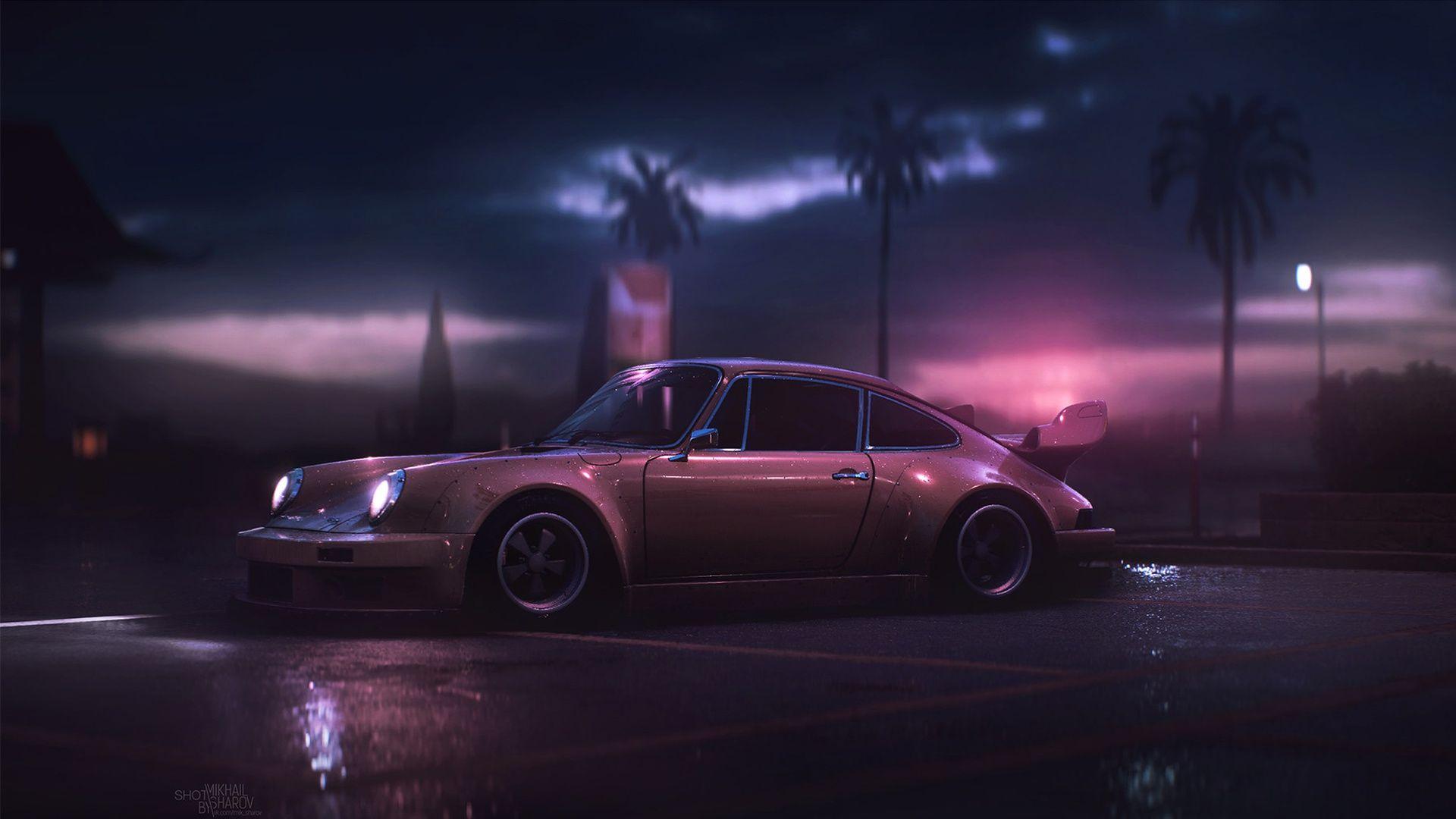 Hopefully Not A Repost Artist Is Mikhail Sharov Outrun Porsche 911 Hd Wallpaper Retro Wallpaper