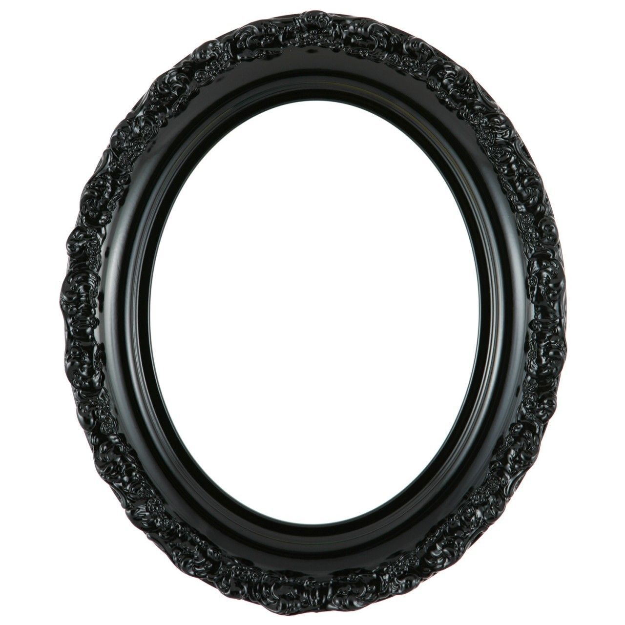 oval frame in gloss black finish black wooden picture frames with ornate decoration