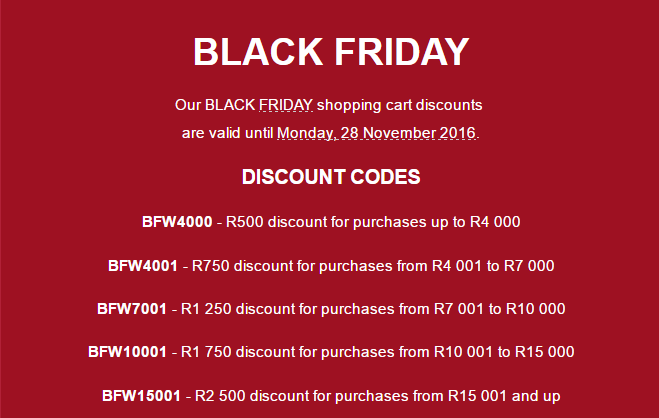 Get up to R2500 off your purchases from today till Monday 28 November 2016.  www.imagineart.co.za
