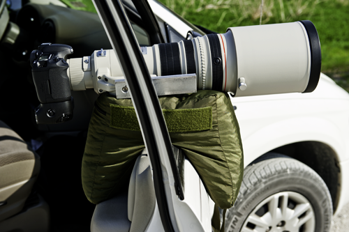 The V2 Molar Bean Bag Mounted On A Car Door With 500mm Lens Window Is Wound All Way Down