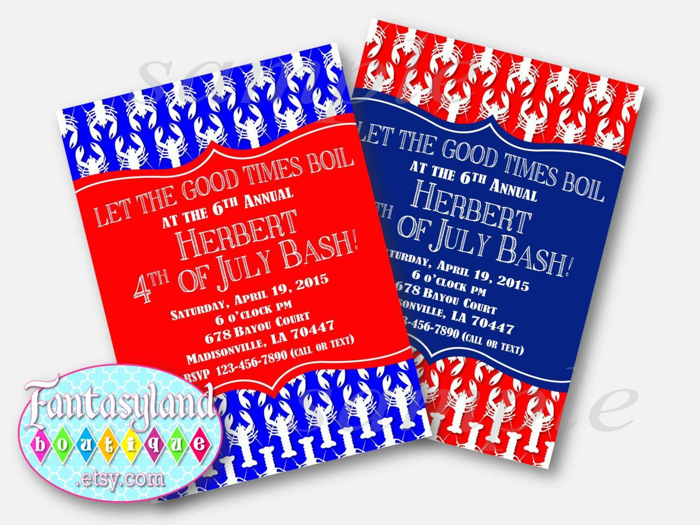 Crawfish Boil Invitation, 4th of July Party Invitation, Birthday ...