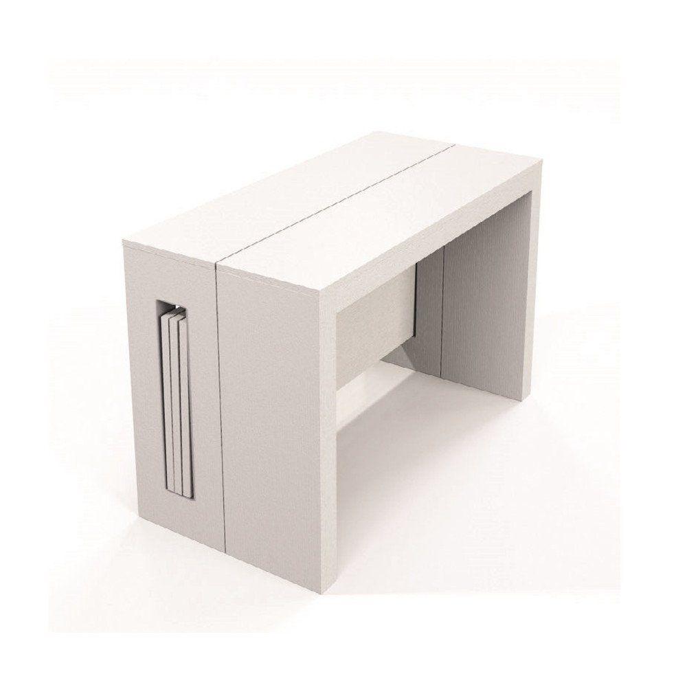 Range Couverts 120 Cm: Console Extensible 10 Couverts TOPAZ 120 Cm Chêne Blanc