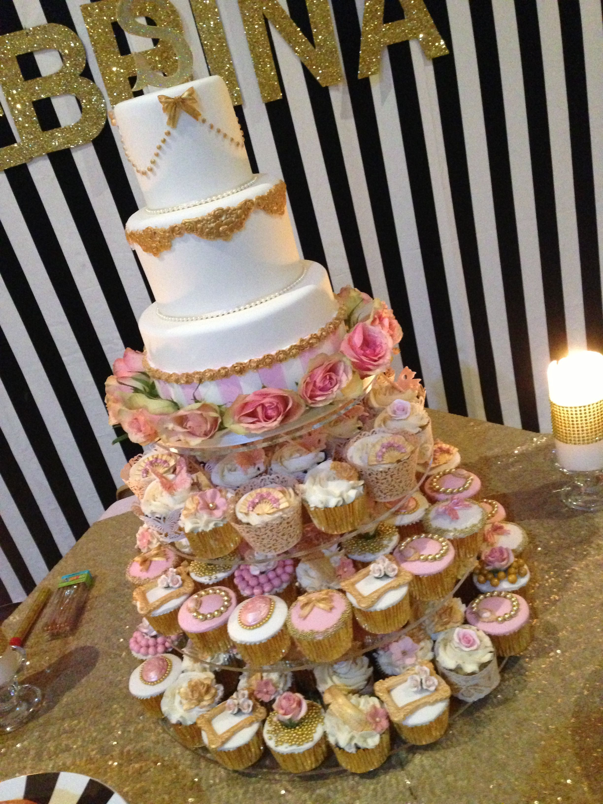 Sweet 16 Birthday Cake And Cupcakes Themed Colors Of Gold Ivory